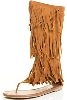 7f3765400000 Women s Multi Color Flat Ziper Moccasins Tassels Fringe Summer Mid Dress  Sandal Shoes