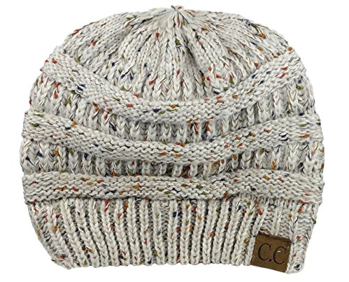 C.C Trendy Warm Chunky Soft Stretch Cable Knit Beanie Skully, Confetti Oatmeal