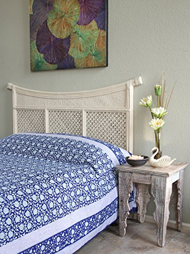 Saffron Marigold Midnight Lotus Lightweight Bedspread | 100% Cotton Cobalt Blue Asian Oriental Persian Floral Quilt Comforter Cover | Unique Jacobean Flower Bedding - Light Lotus Persian