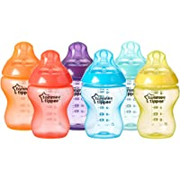 Tommee Tippee Closer to Nature Fiesta Fun Time Baby Feeding Bottles, Anti-Colic Valve, Breast-like Nipple for Natural Latch, Slow Flow, BPA-Free - 9 Ounces, Multi-colored, 6 Pack