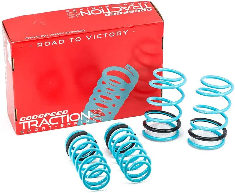 Godspeed LS-TS-SN-0004-B Traction-S Performance Lowering Springs Reduce Body Roll Improved Handling Set of 4