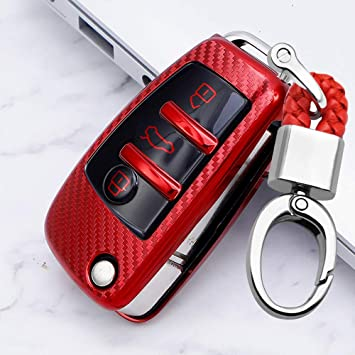 Ontto Klapp Autoschlüssel Hülle Abdeckung Für Audi A1 A3 A4 S3 A6 Tt A3 Q5 Q7 R8 Ttrs Tpu Kohlefaser Muster Schlüsselhülle Schutzhülle Cover Mit 3 Taste Schlüsselanhänger Schlüsselschutz Rot Auto