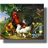 Village Rooster and Chickens Picture on Stretched Canvas, Wall Art Décor, Ready to Hang!