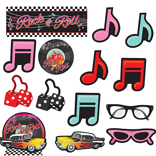 Amscan Nifty 50's Theme Party Cutout Assortment Decoration (30 Piece), Multicolor, One (Party Decorations Hanging Cut Outs)