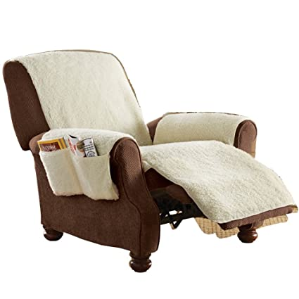 Charmant Fleece Recliner Furniture Protector Cover With Pockets, Natural