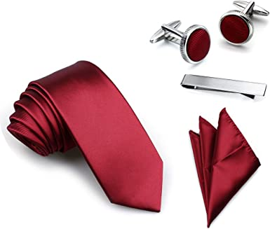 Mens Necktie Set with Tie Pocket Square handkerchief Cuff-Links and Tie Clip in Gift Box