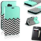 RANZ PU Leather Pop Icon Wallet Flip Pouch Case Stand Cover For Alcatel One Touch Fierce 2, Teal Waves