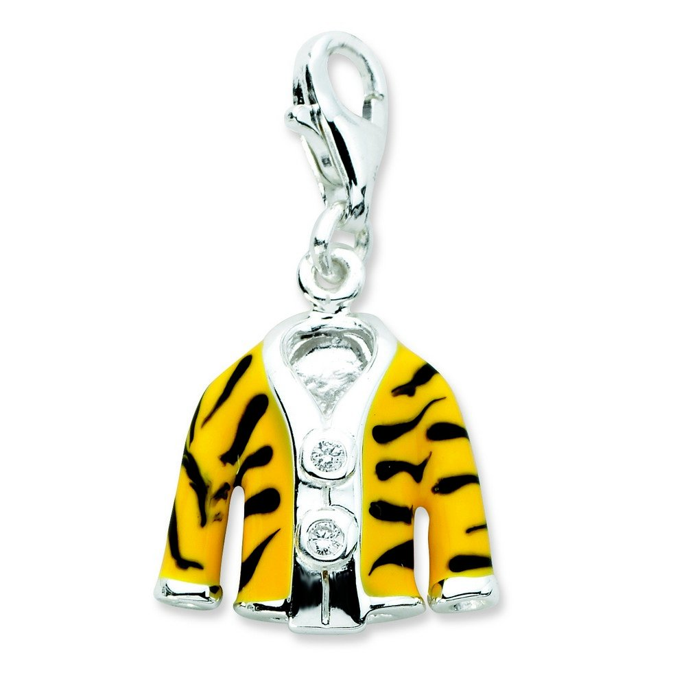 Sterling Silver Rhodium-plated Fancy Lobster Closure Click-on Cubic Zirconia Enamel Tiger Jacket Charm - Measures 25x14mm