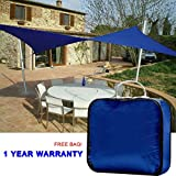 Quictent 13 X 10 ft 185G HDPE Rectangle Sun Sail Shade Canopy UV Block Top Outdoor Cover Patio Garden blue + Free Carry Bag