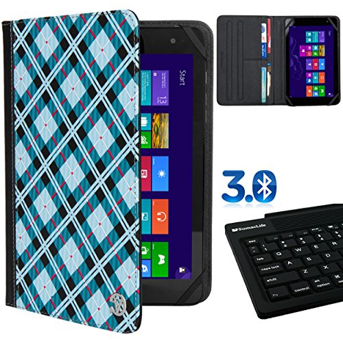 M770 Series - Universal Hard Shell Folio Blue Checkers For iView Suprapad 7 / iView 8 / CyberPad / Kocaso W Series 8 / M Series 7 / K Series 7.9 / iRola 7-inch Tablet + Bluetooth Silicone Keyboard