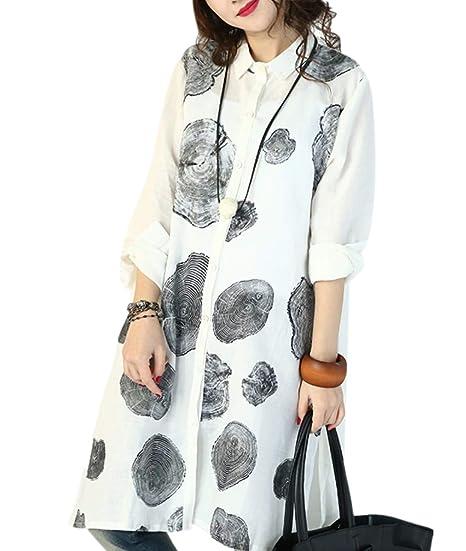 c9336029843 YESNO BT8 Women Long Button-Down Shirts Blouses Dress 100% Linen Casual Loose  Fit