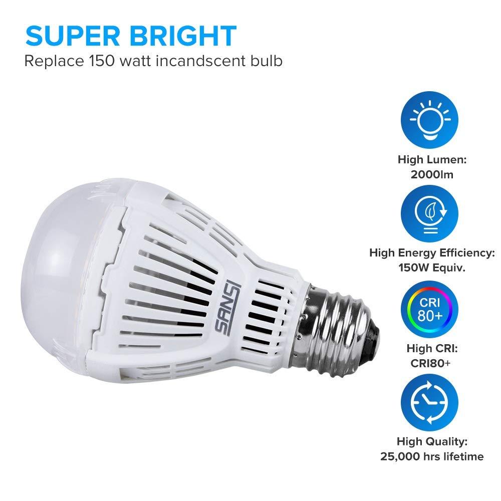 4-Pack 150 Watt Equivalent 2000LM LED 3000K Warm White E26 Base LED Light Bulbs SANSI 16W Non-Dimmable A19 LED Bulbs