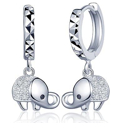 Yumilok Jewelry 925 Sterling Silver Cubic Zirconia Elephant Drops Dangles Womens Hoop Creole Earrings, Hypoallergenic