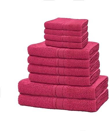 Azzoro - Juego de 10 Toallas de Mano y baño (100% algodón Egipcio, 650 g/m²), algodón, Azzoro Deep Red, Estándar: Amazon.es: Hogar