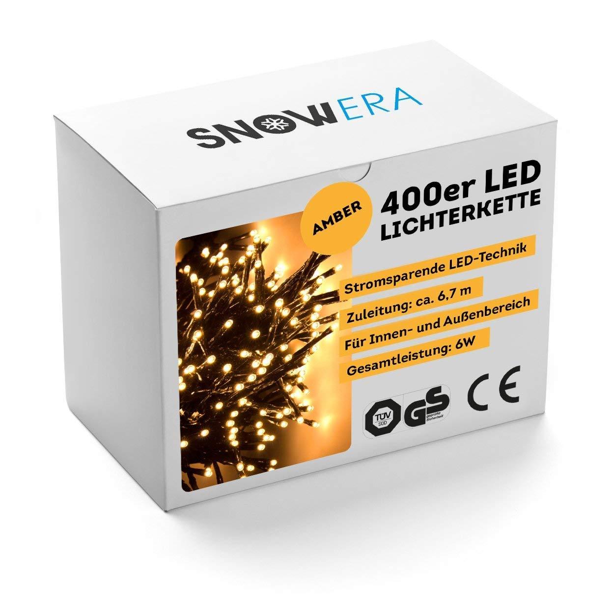 SnowEra 600 Luci LED Catena Luminosa / Luci Natalizie per Interni ed Esterni con Timer Commutabile - Per l' Albero di Natale - Colore Bianco Caldo - Lunghezza: ca. 70 m incl. Cavo SN-7333