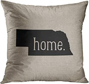 Wesbin Nebraska Home State Romantic Hidden Zipper Home Sofa Decorative Throw Pillow Cover Cushion Case Inch 18x18 Square Two Sides Design Printed Pillowcase
