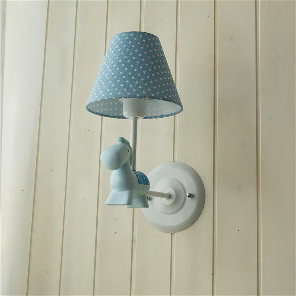 JhyQzyzqj lampada da parete Soggiorno camera da letto in stile americano parete TV Pony luci da parete ragazzi e ragazze camera per bambini lampade da parete applique da parete