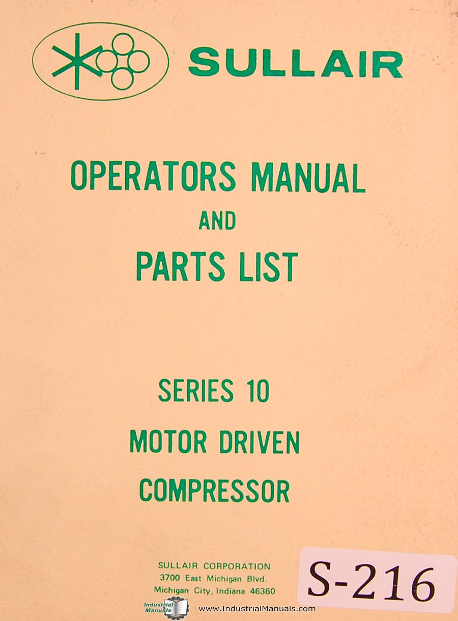 sullair series 10 motor compressor operation maintenance parts rh amazon com Sullair Tech Information Sullair 185 Cover