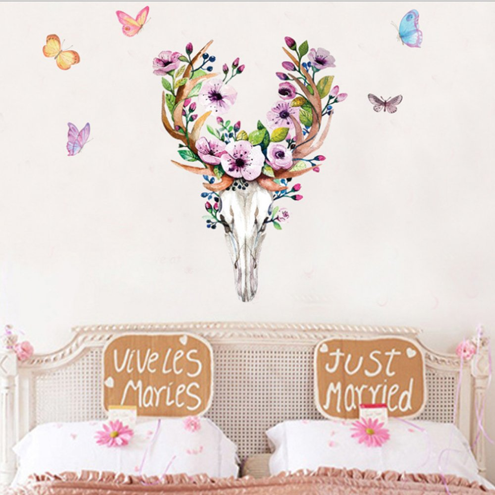 Sika Deer Head Flowers Butterflies Wall Decal Home Sticker PVC Murals Paper House Decoration Wallpaper Living Room Bedroom Art Picture for Kids Teen Senior Adult Baby fashionbeautybuy PP-JM03737318-CA