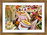 Many of the offerings on cart in front of a temple in Tampaksiring, Bali, Indonesia by Panoramic Images Framed Art Print Wall Picture, Wide Gold Frame, 38 x 28 inches