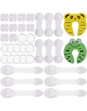 LENBEST 48 Pcs Kit de Seguridad para Beb/és 8 Protectores de Esquina de Silicona, 24/×Protector de enchufe, 10 Beb/é de Seguridad Bloqueo, 6/×Tarjeta de la puerta de la espuma Kit Seguridad Bebe