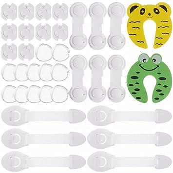 Rovtop 36 Pcs kit de Seguridad para Bebés, 12 Protectores de Esquina de Silicona, 6 Cierres de Armario, 6 Cerraduras de Cajón, 2 Clips de Puerta, 10 ...