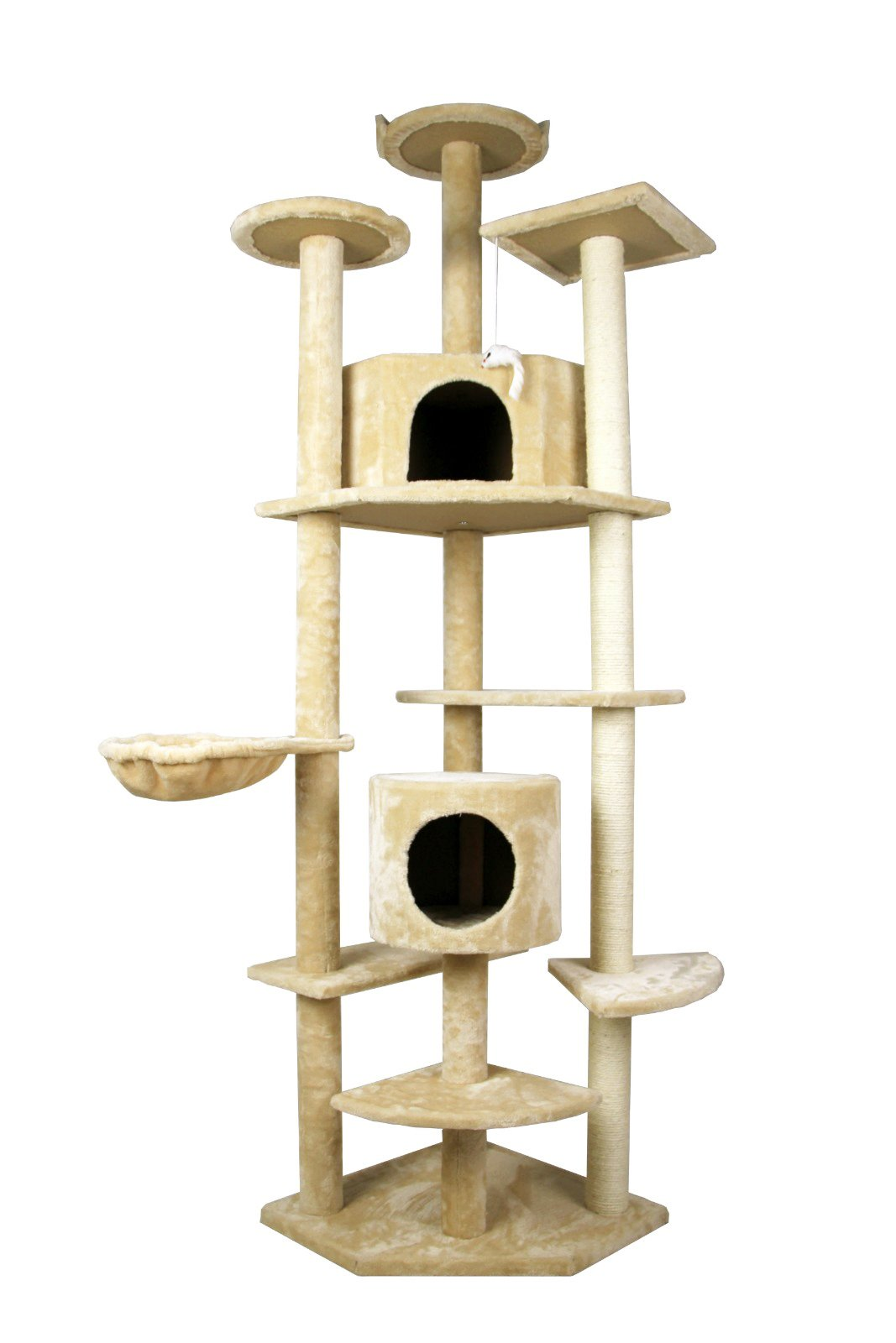 79'' Cat Tree Tower Condo Furniture Scratch Post Kitty Pet House Play Furniture Sisal Pole and Stairs (Beige)