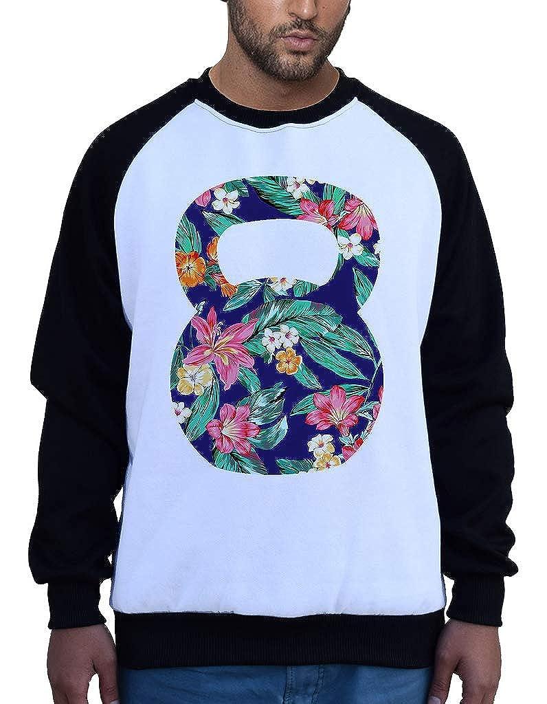 Mens Hawaii Floral Kettlebell B1430 PLY Raglan Sweatshirt