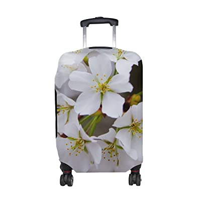 Plants Flower Cherry Blossom White Pattern Print Travel Luggage Protector Baggage Suitcase Cover Fits 18-21 Inch Luggage free shipping