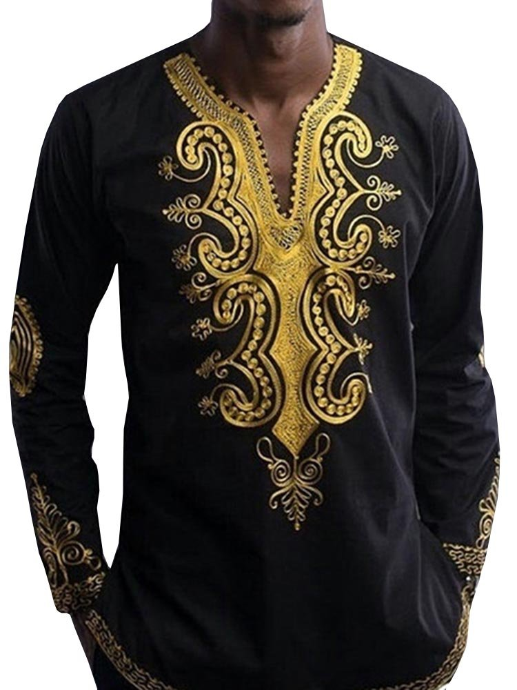 Bbalizko Mens Dashiki African Print V Neck Shirt Loose Tops Plus Size by Bbalizko (Image #1)