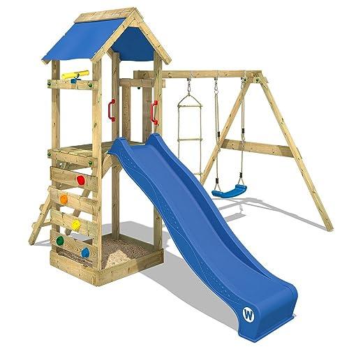 WICKEY Portique de jeux FreeFlyer Aire de jeux en bois Cabane pour enfants avec balançoire, bac à sable + Accessoires, toboggan bleu