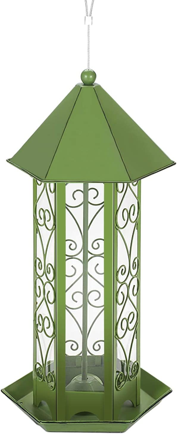 Flexzion Hanging Bird Feeder, Waterproof Anti-Rust Metal Window Hung Wild Bird Gravity Feeders Spill Proof Tray/F Outside Garden, 2 Pound Hopper Capacity Clear Guard Bird House, Gifts (Green)
