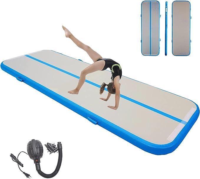 Inflatable Air Gymnastics Mat Gymnastics Track Training Mats Yoga Floor Cheerleading Landing Taekwondo Training Kungfu Exercise Mats with Electric Air Pump for Home Gymnasium Beach Park and Water Use