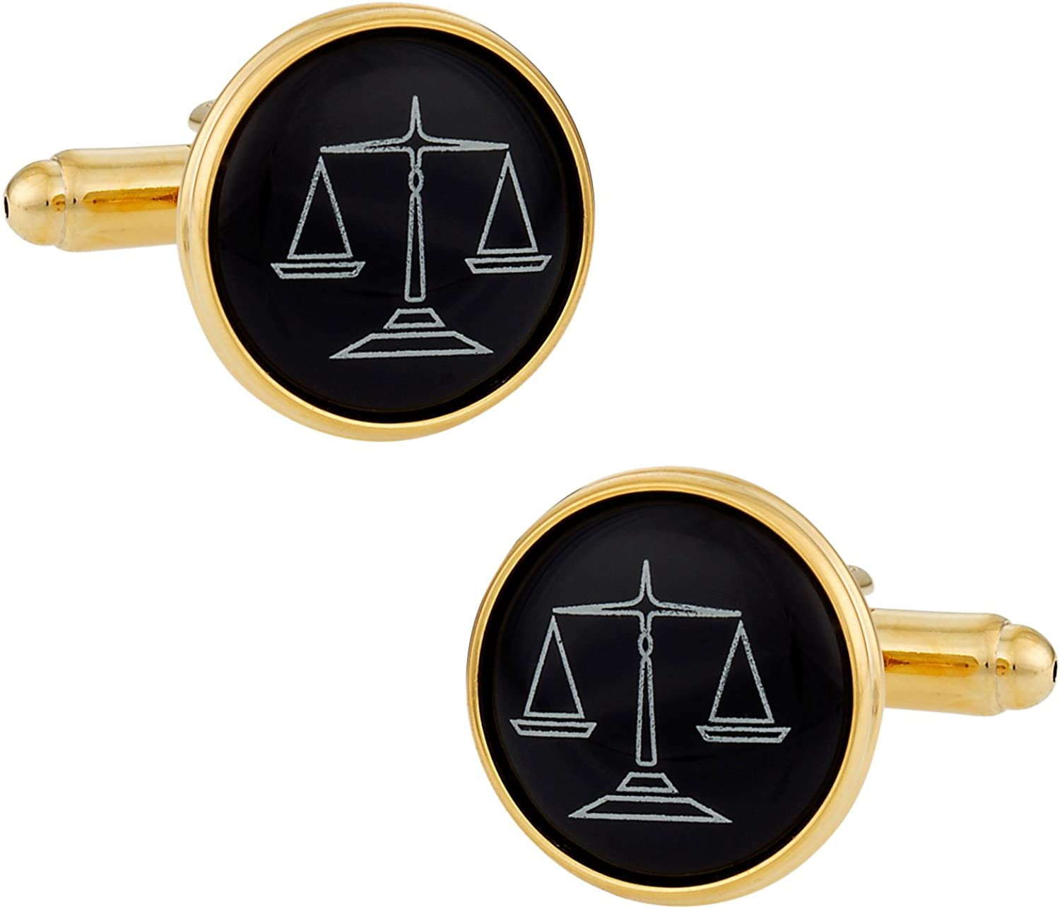 Cuff-Daddy Attorney Lawyer Cufflinks Scales of Justice Black Gold with Presentation Box