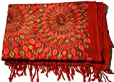 Pashmina Stole, Red Peacock Embroidery