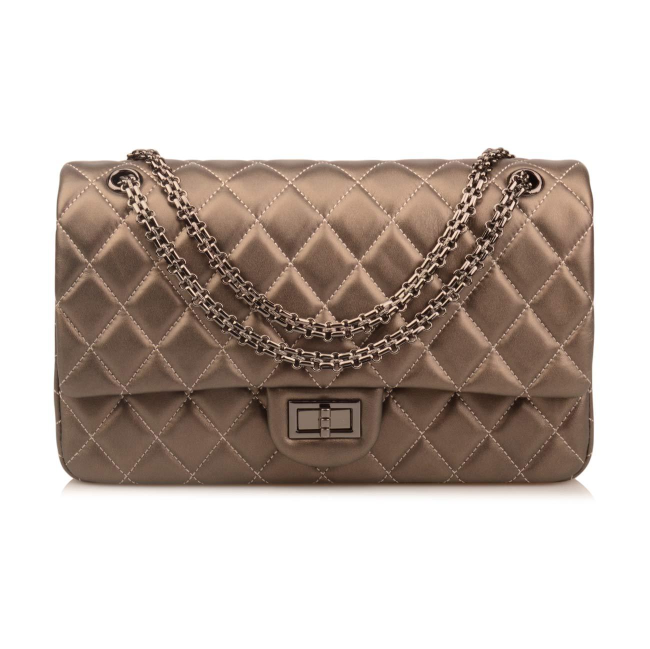 Ainifeel Women's Genuine Leather Quilted Shoulder Handbag Hobo Bag Crossbody Purse Gunmetal hardware (Large, Metal Khaki)