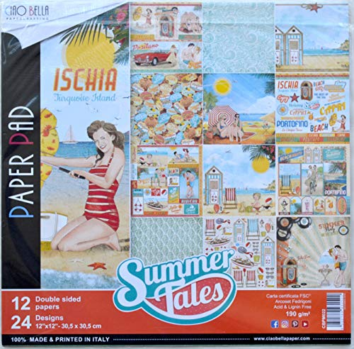 Retro Art Scrapbooking Paper - Ciao Bella CBPM022 Summer Tales Double-Sided Paper Pack 12