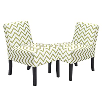 Beau BestMassage Wave Patterned Fabric Accent Chair, Dining Side Sofa Chairs Set  Of 2
