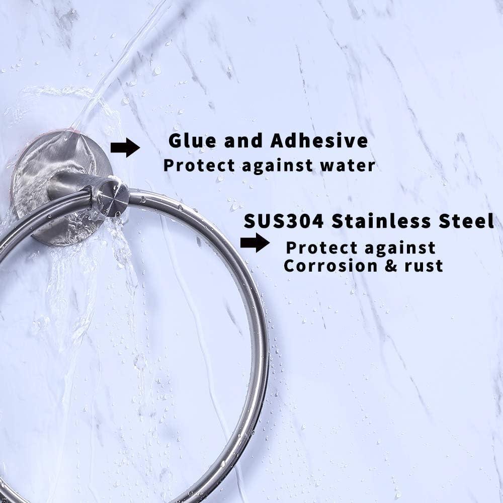 Geb/ürstete KES Handtuchring Handtuchhalter ohne Bohren 3M Selbstbequemer Handtuch-Rack Selbstklebender Kleber A2180DM-2 Edelstahl Patentierter Kleber