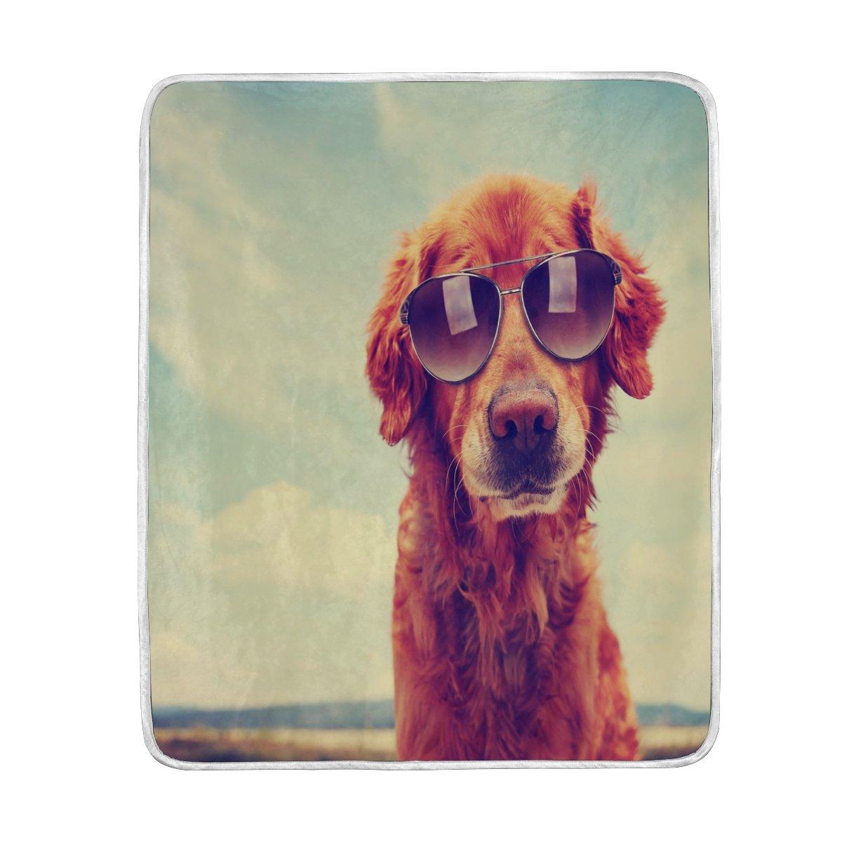 AlazaホームインテリアレトロSkyゴールデンレトリーバー犬ソフト暖かい毛布ベッドソファソファ軽量旅行キャンプ60 x 50インチThrowサイズfor Kids Boys Girls B076D7RXTY