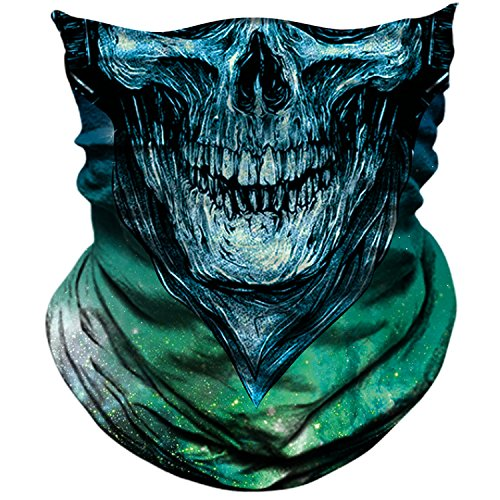AXBXCX Skull Skeleton Outdoor Face Mask Bandana Neck Gaiter - Microfiber Polyester Seamless Headwear Dust Music Festivals Raves Ski Motorcycle Snowboard Cycling Halloween Party Cosplay Ghost Mask 034 ()
