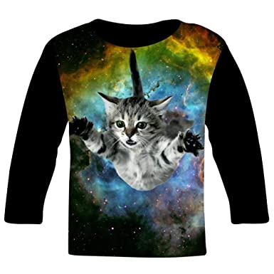 b6efcbc6ae96 Children s O-Neck Curious Cat Flying Through Space 3D Printing Full Width Long  Sleeve T