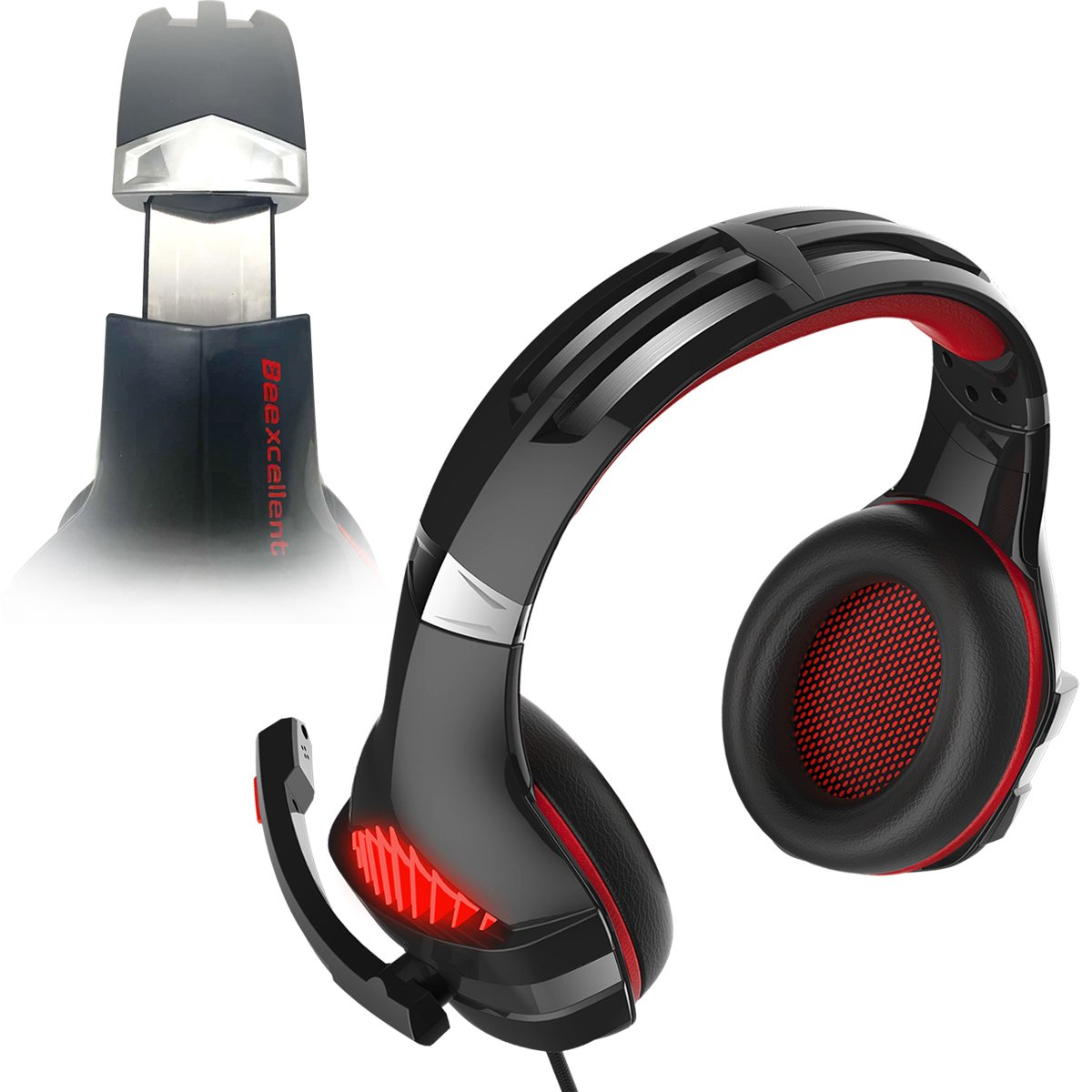 Gaming Headset, Beexcellent Gaming headphone with Microphone for PS4/Xbox One(Adapter Need)/Nintendo Switch(Audio)/PC/Controller/Cellphone-Easy Volume Control with LED Lighting 3.5MM Jack(GM-5 Red) by Beexcellent (Image #4)