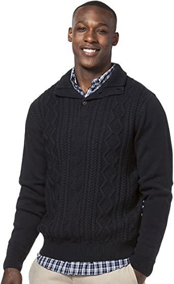 XQS Mens Cable Knit Shawl Collar Sweater Slim Ribbed Pullover Sweater Tops