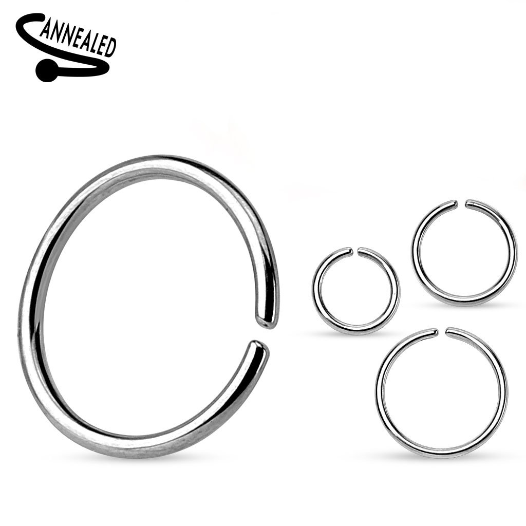(2 Pieces) 22g (0.65mm) Nose Hoop Annealed and Rounded Ends Cut Ring 316L Surgical Steel (Nose, Cartilage, Eyebrow, Ear, (10mm Diameter) Themadhatter