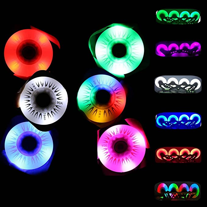 Amazon.com : Flash Roller Wheels LED Light Inline Skate Wheel Light up Skate Wheel Sliding Flash PU Rollerblade Wheels 72/76/80mm(80mm, Blue1-80mm) : Sports ...