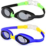 Hurdilen Kids Swim Goggles,2 Pack,Swimming Goggles for Kids Contrast Color Child Swim Goggles (Age 2-8) for Boys Girls,with Leakproof UV Protection Design,Shatterproof Anti-Fog Lens