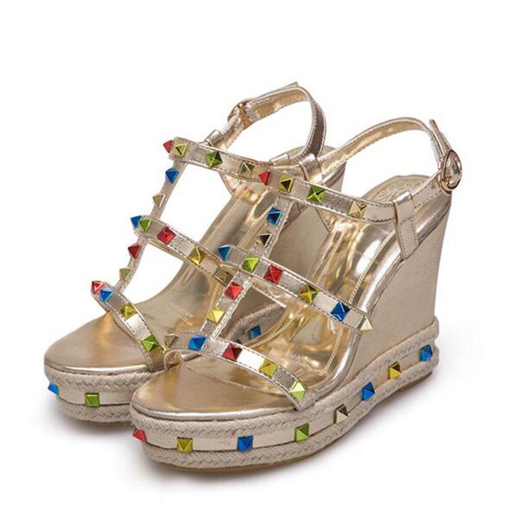 Sandalen Sommer Mode Niet PU Frau Dicke Dicke Dicke Sohle Hangabsatz High Heels Damenschuhe Gold c882a7