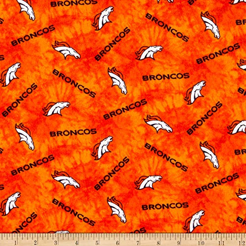 - Traditions NFL Flannel Denver Broncos Tie Dye Orange, Fabric by the Yard