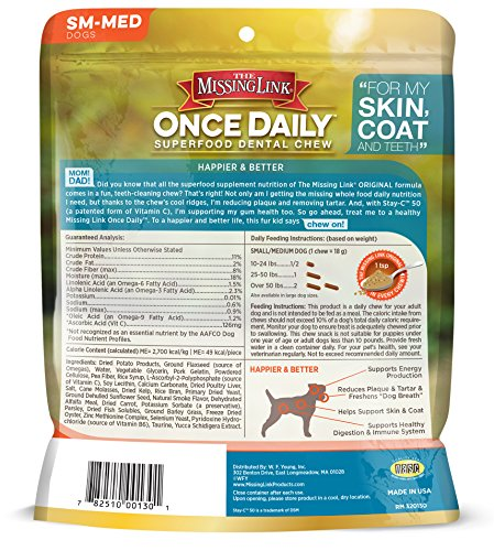 Image of The Missing Link Once Daily All Natural Omega Dental Chew - Skin, Coat & Teeth - SMALL/MED Dog - 14 day supply